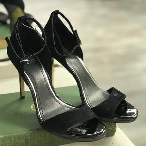 WHBM Black Heeled Sandals with Ankle Strap